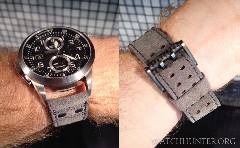 Victorinox Swiss Army Airboss Mach 8 on Luminox 23 mm suede watch band