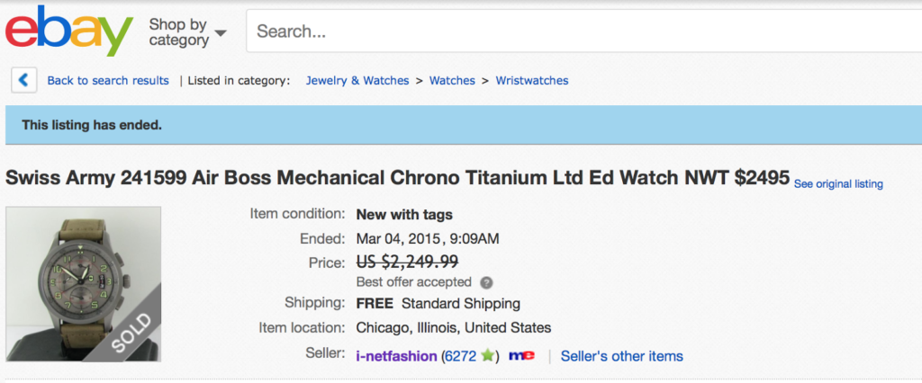 Victorinox Swiss Army Airboss Mechanical Chrono Titanium watch listing on eBay