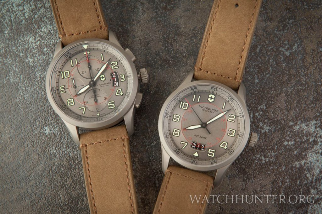 Two limited edition Victorinox Swiss Army titanium mechanical Airboss watches seldom seen together