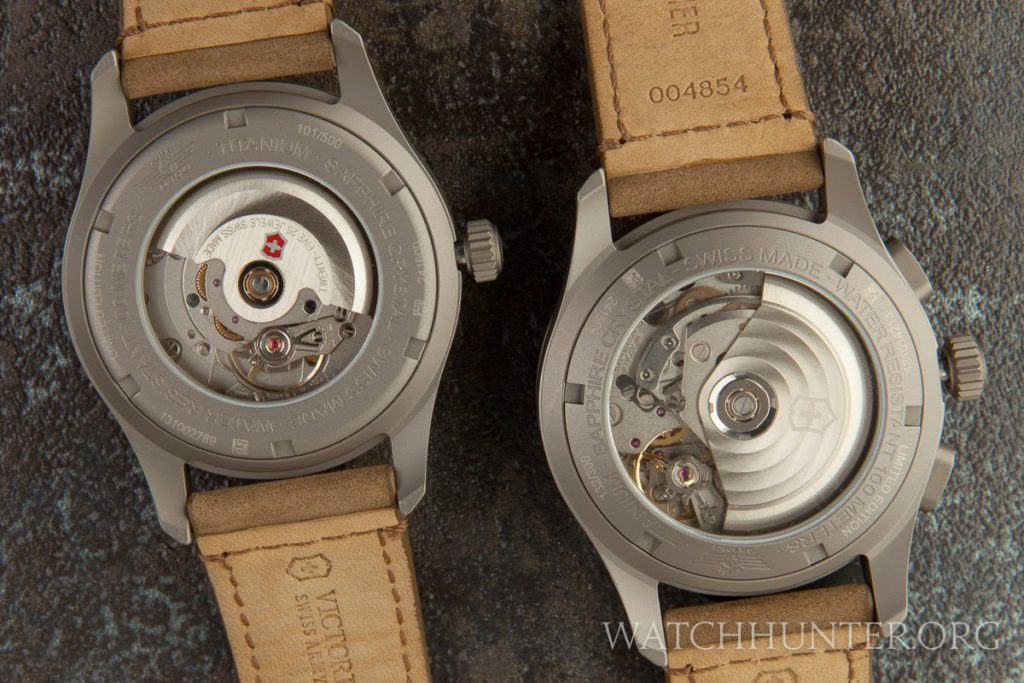 The three-hand on the left and the chronograph on the right