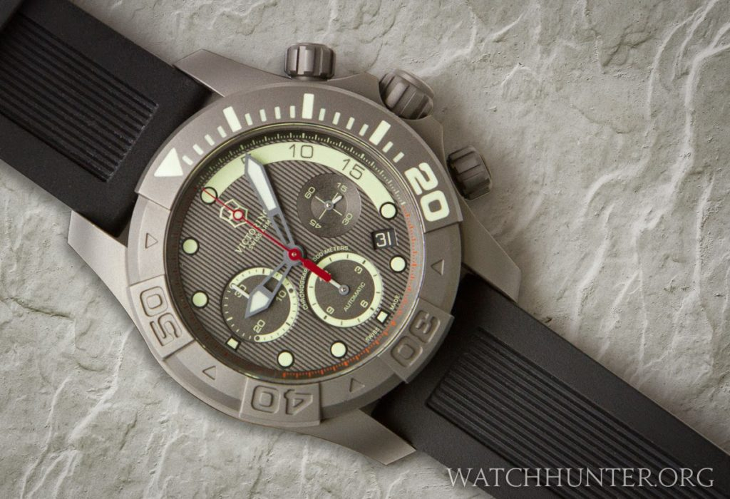 Black rubber dive strap shown on a limited edition Dive Master 500 Titanium Chronography by Victorinox Swiss Army