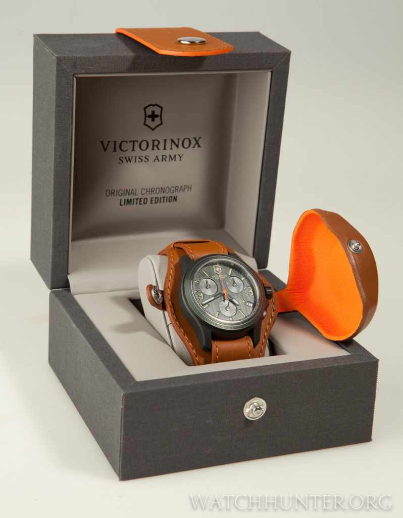 The limited edition watch has a gray linen display box with a matching leather belt