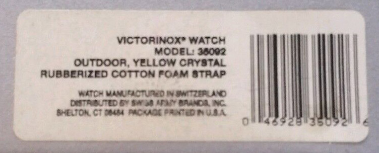 The watches UPC label does not give it a model name per se