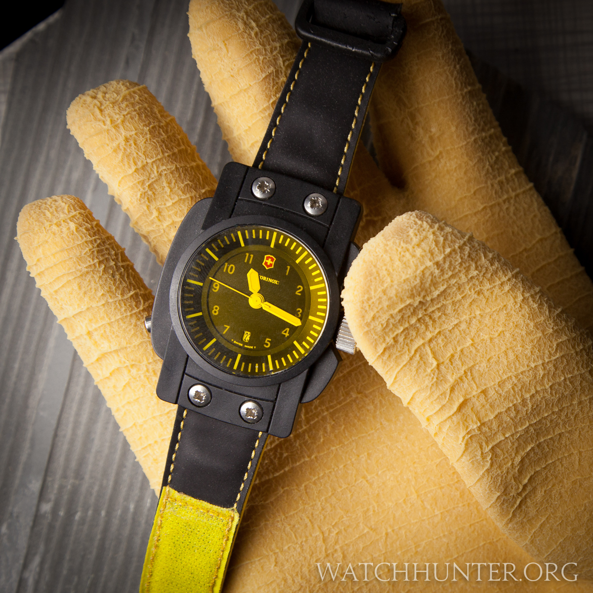 This glove seemed fitting to handle this bright yellow watch!