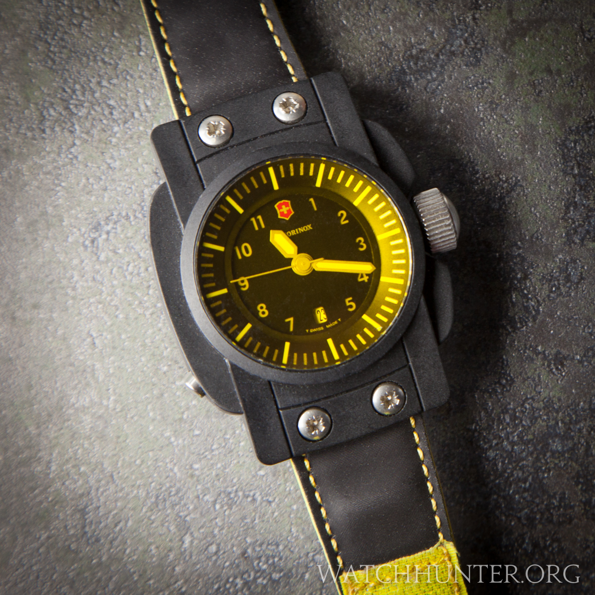 The mineral glass crystal is yellow on this unique Swiss Army watch
