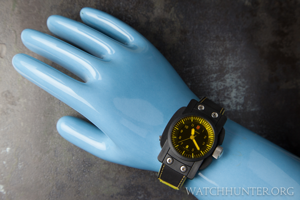 This watch was so wide that it fit a giant hand mold used to make rubber gloves