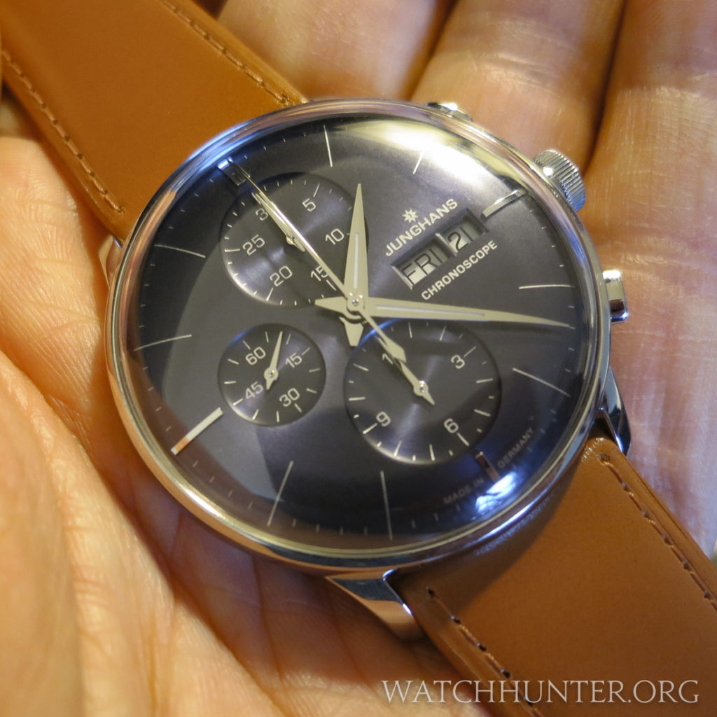 The Junghans Meister Chronoscope with a blue dial was a standout of the show