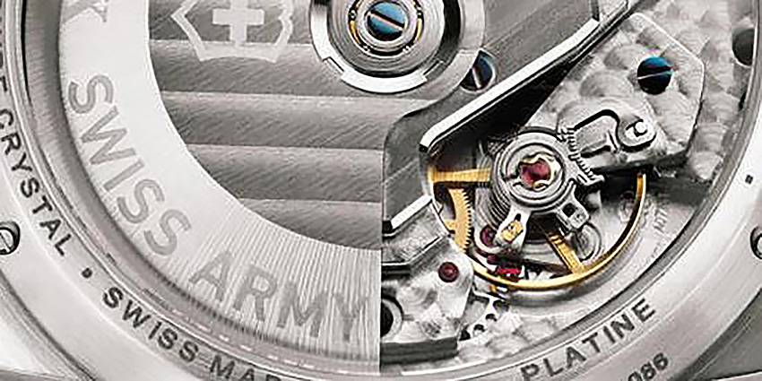 Photo: Victorinox Swiss Army. A closeup of the Valgranges A07.161 movement with 46-hour power reserve
