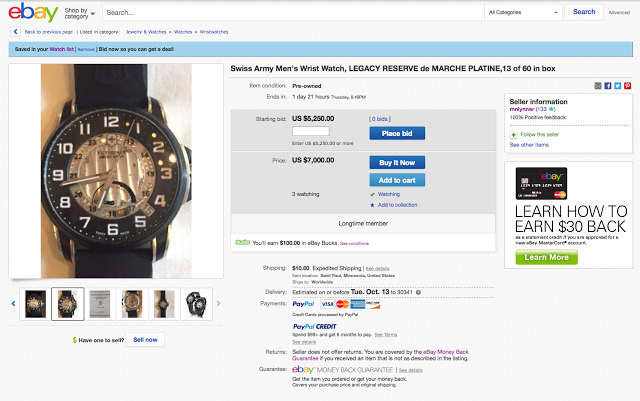 Legacy Reserve de Marche Platine listing on eBay