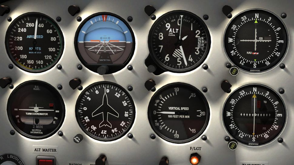 Aviation panel gauges with the outer installation screws in the 4 corners. Photo Microsoft.