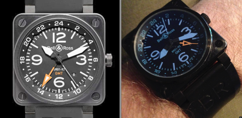 A real Bell & Ross GMT on the left and a fake on the right.