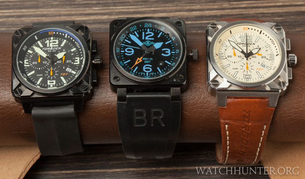 A Torgoen T27101, a replica Bell & Ross BR-03 GMY and Torgoen T27103