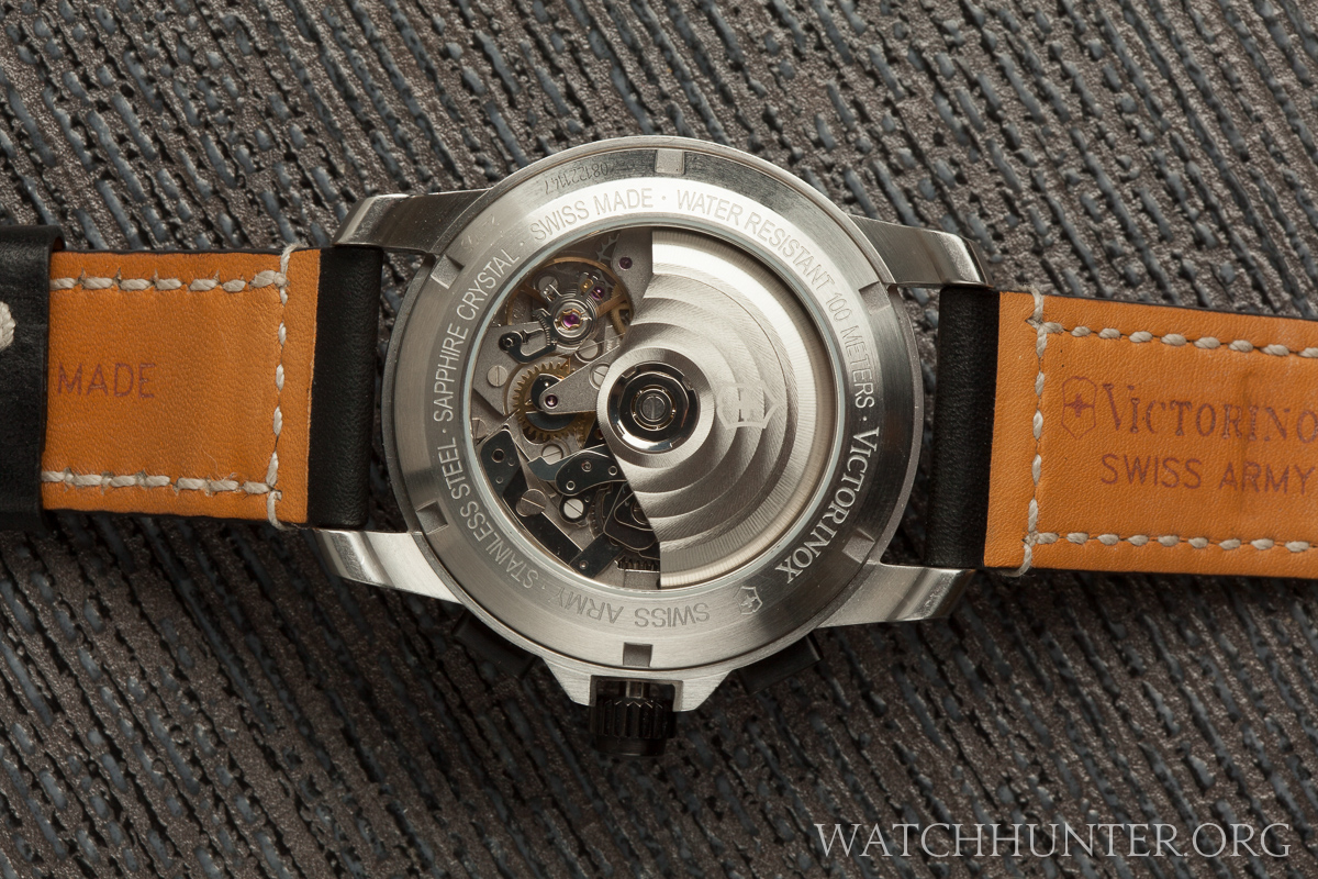 The first generation case back of the Swiss Army Alpnach Chronograph