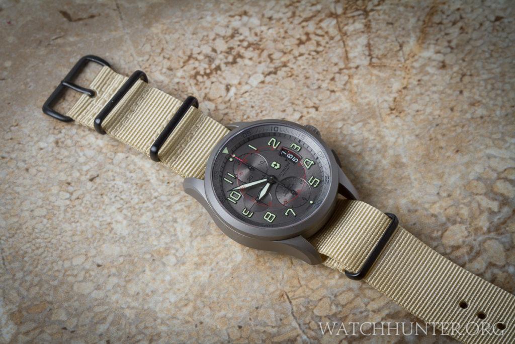 The winning combination of sand Premium NATO Strap and Victorinox Swiss Army Titanium Airboss Chronograph