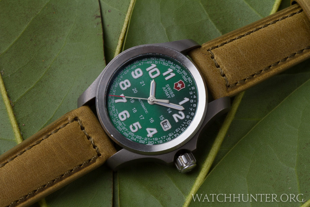 A rare Green Swiss Army Limited Edition Ground Force Automatic on a Crown & Buckle Sheffield strap
