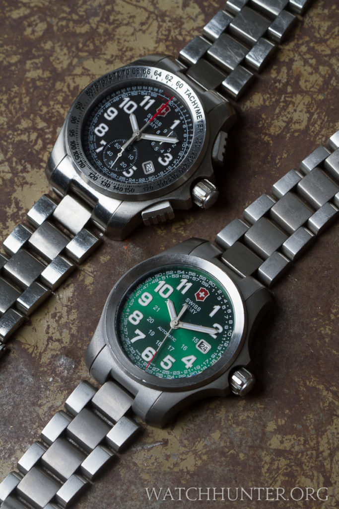 The quartz chronograph version of the Ground Force is even more rugged looking