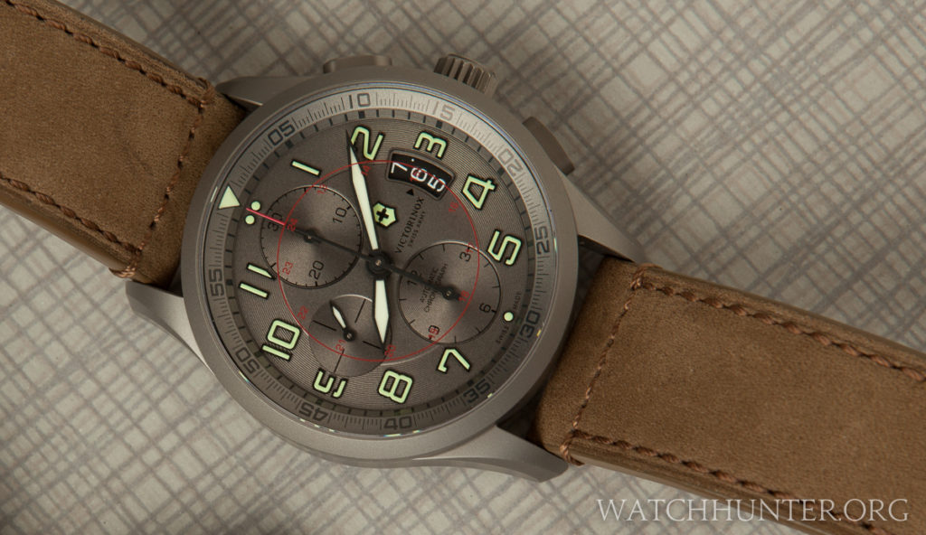 The Victorinox Swiss Army Titanium Airboss is a looker. Mine has a freckle in the date wheel near the 6.