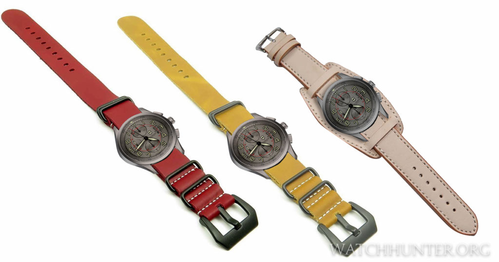 Victorinox Swiss Army Titanium Airboss shown on digital leather NATO straps and a natural leather bund strap