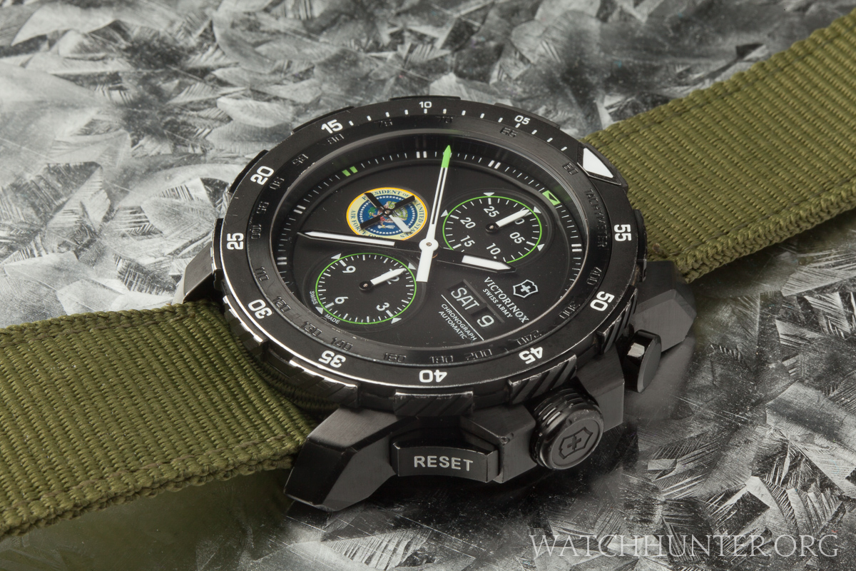 The watch's angular lugs have stealth bomber like surfaces and a hardcore military presence.