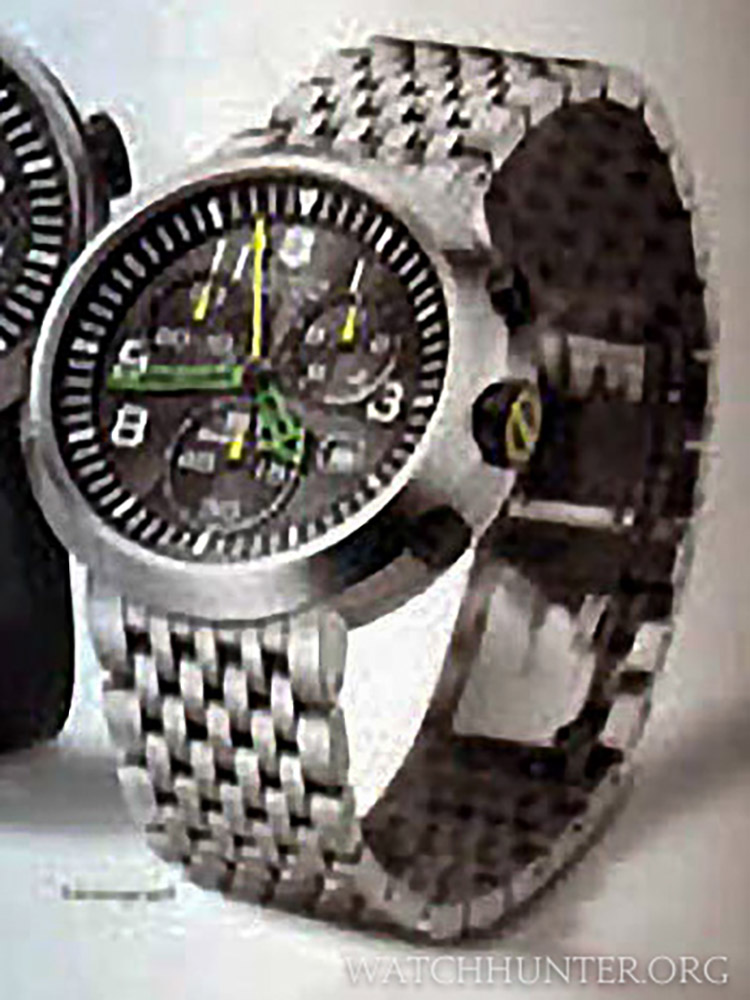 An unidentified Swiss Army SeaPlane Chronograph with metal bracelet and unique central hand