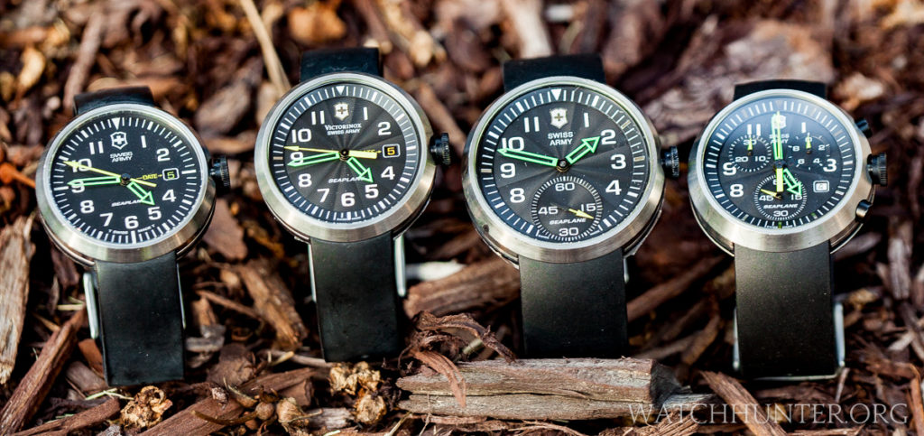 Victorinox Swiss Army SeaPlane watches, all with interchangeable plastic watchbands