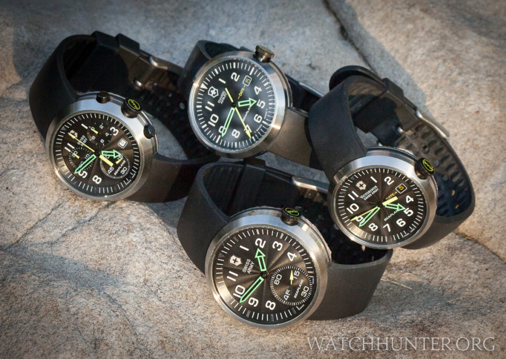 A rare set of all 4 generations of Victorinox Swiss Army SeaPlane watches