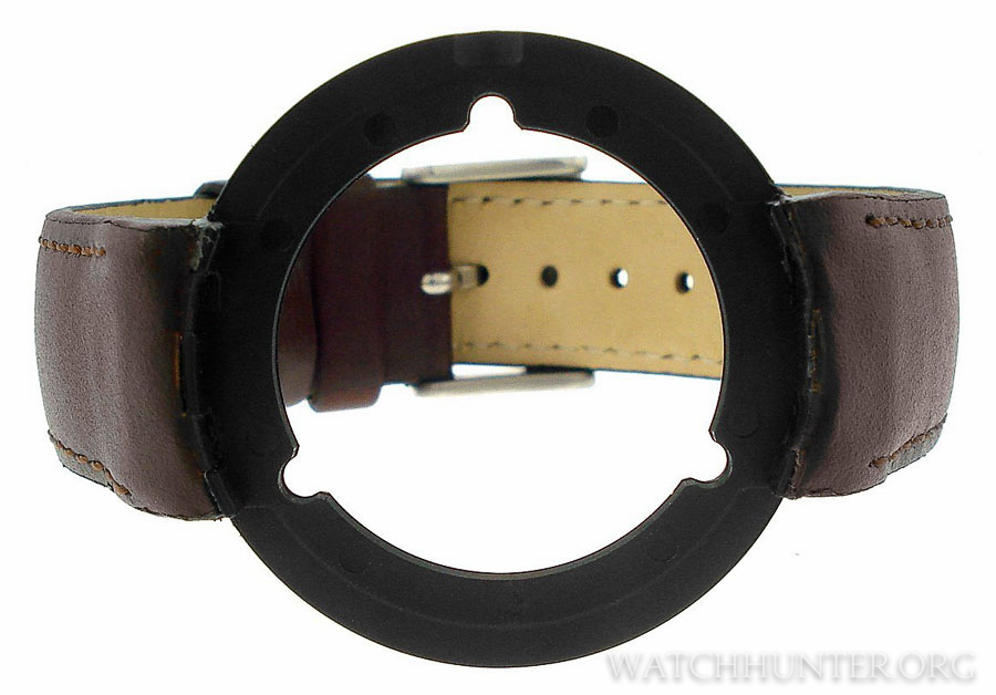 A leather-clad SeaPlane watchband. The doughnut shape is known as the throne.