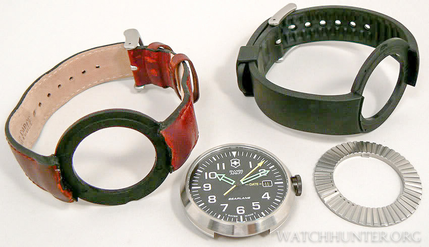 The parts that make up a Swiss Army SeaPlane watch are the proprietary watch bands, watch case (head) and locking ring