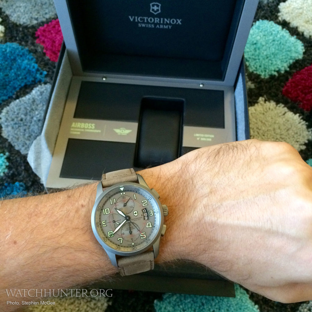 Victorinox Swiss Army Airboss Titanium Chronograph in front of display box. Model #241599. Photo: Stephen McGee