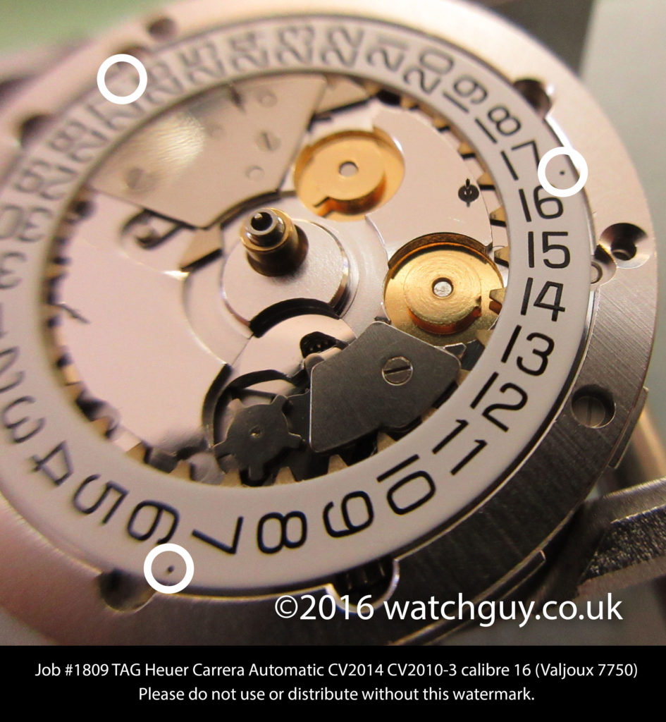 3 dots appear on some Valjoux 7750 chrono movements. Photo: www.watchguy.co.uk