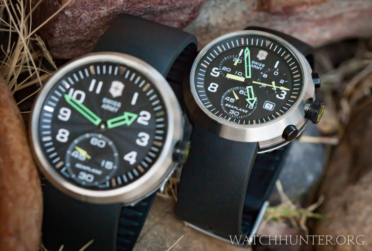 The SeaPlane XL blurred in the foreground with the SeaPlane Chronograph in focus