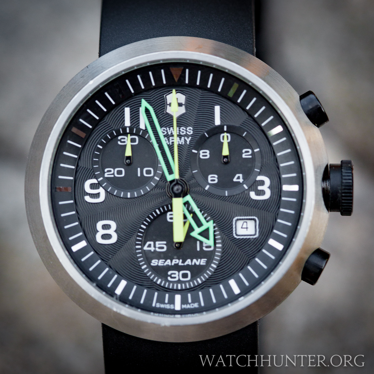 The Victorinox Swiss Army SeaPlane Chronograph had applied indices, a guilloche dial and brightly colored hands