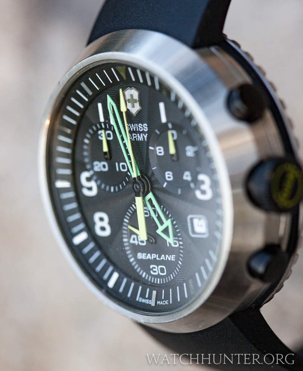 The dial of the SeaPlane Chronograph has many design elements, but they somehow balance