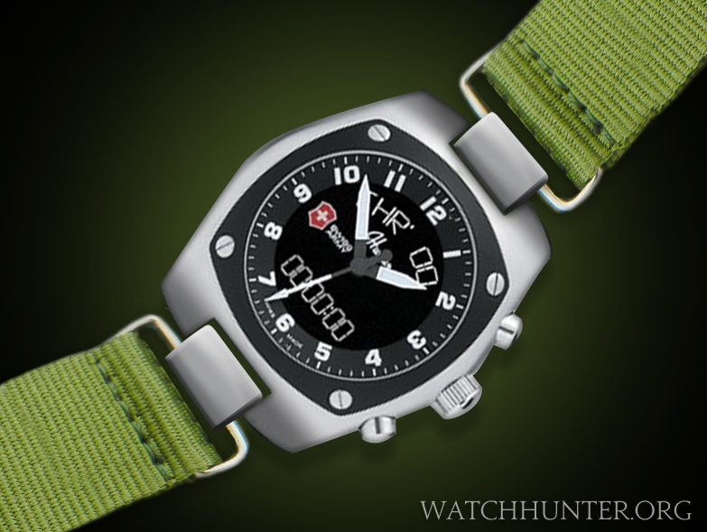 A fictitious watchband attachment system for the Swiss Army Hunter watches.