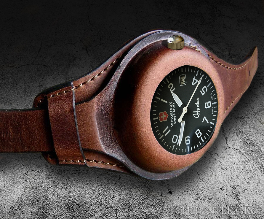 A Victorinox Swiss Army Hunter Mach 1 in a fictitious WW1 style watch band made for a pocket watch.
