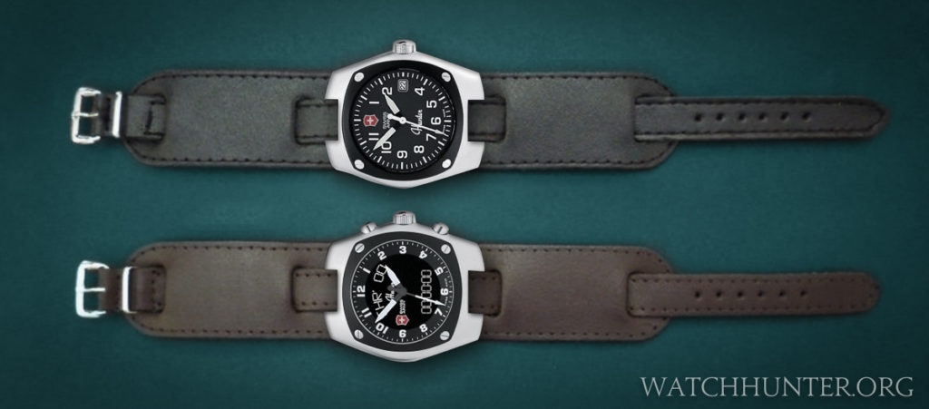 My early digital mockups of Victorinox Swiss Army Hunter watches on bund straps with a thin center strap.