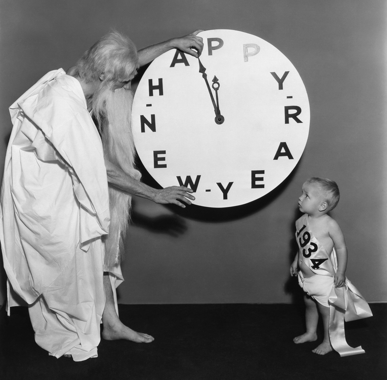 A vintage Father Time meets a young baby New Year in 1934, my father's birth year. Photo: Shutterstock.com
