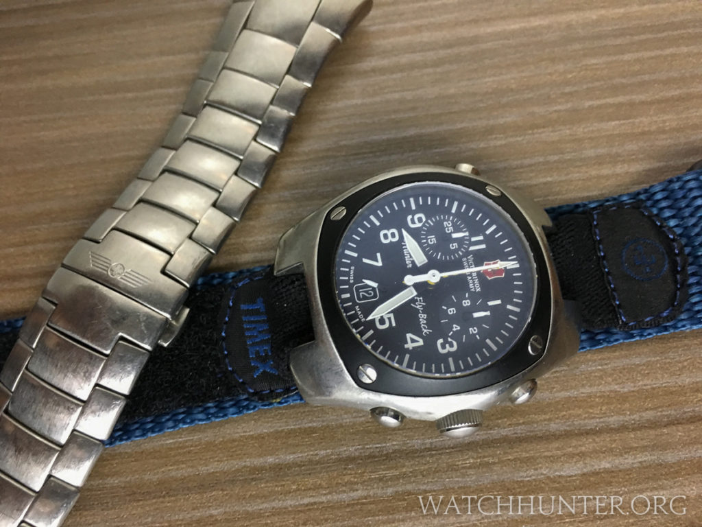 Victorinox Swiss Army Hunter Mach 2 on a Timex Expedition velcro watch band