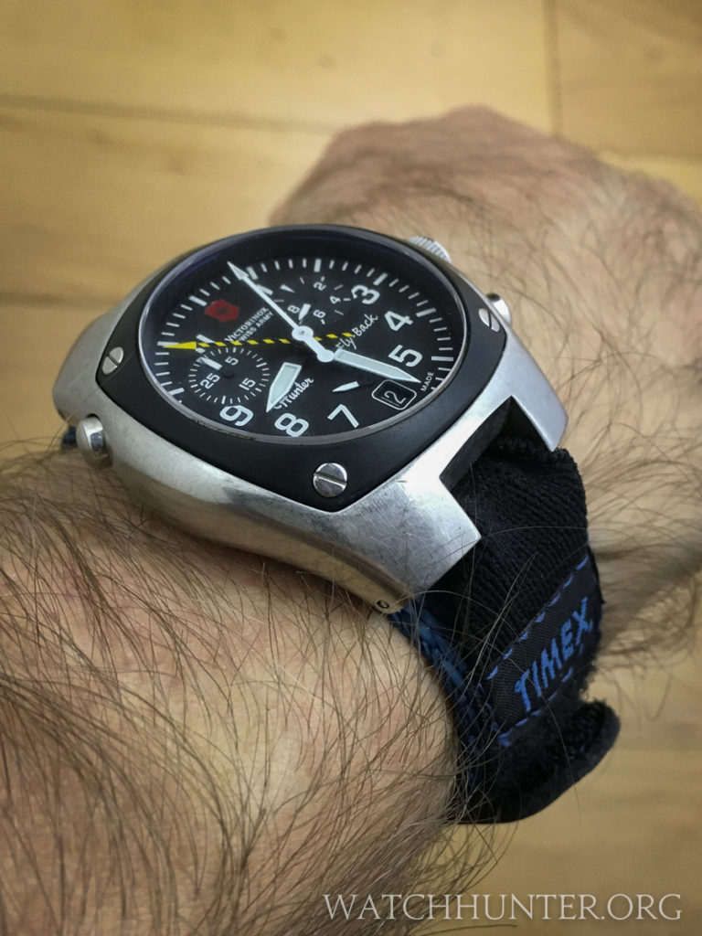 The Victorinox Swiss Army Hunter Mach 2 on a Timex Expedition velcro strap
