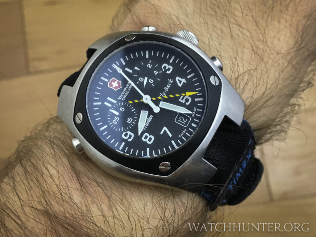 From above, you can see the barrel shape of the Victorinox Swiss Army Hunter watch case