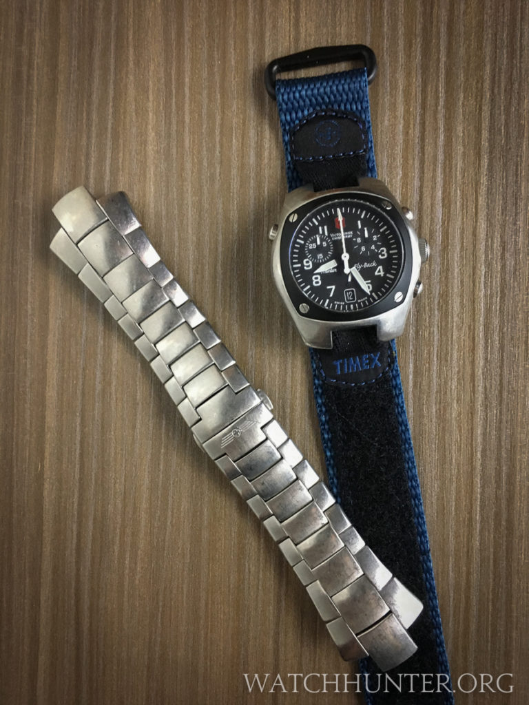 The original Swiss Army Hunter bracelet is a metallic work of art. The Timex is casual.