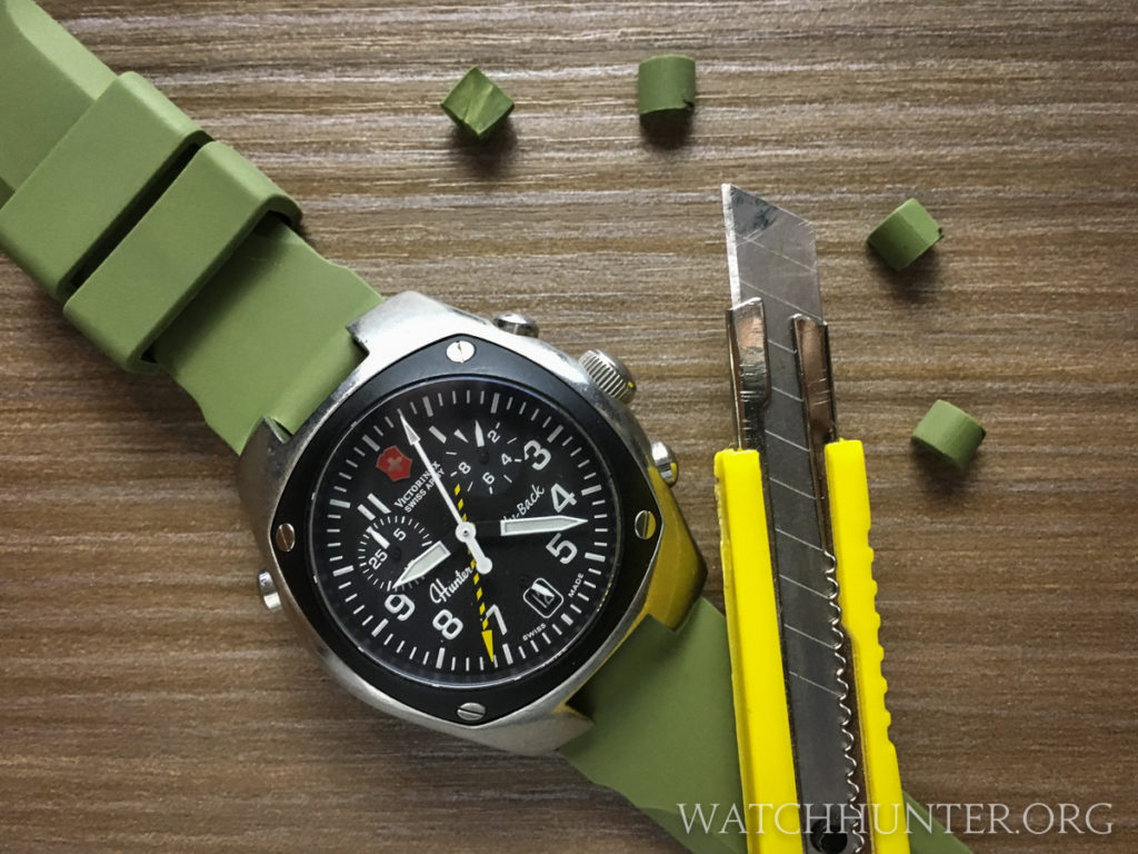 The color of the new watch band added to the military inspired design of the Swiss Army Hunter Mach 2 chrono.