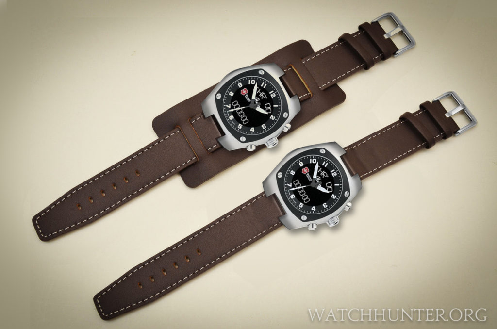 Concept of a Swiss Army Hunter Mach 3 on a leather bund strap with and without the cuff