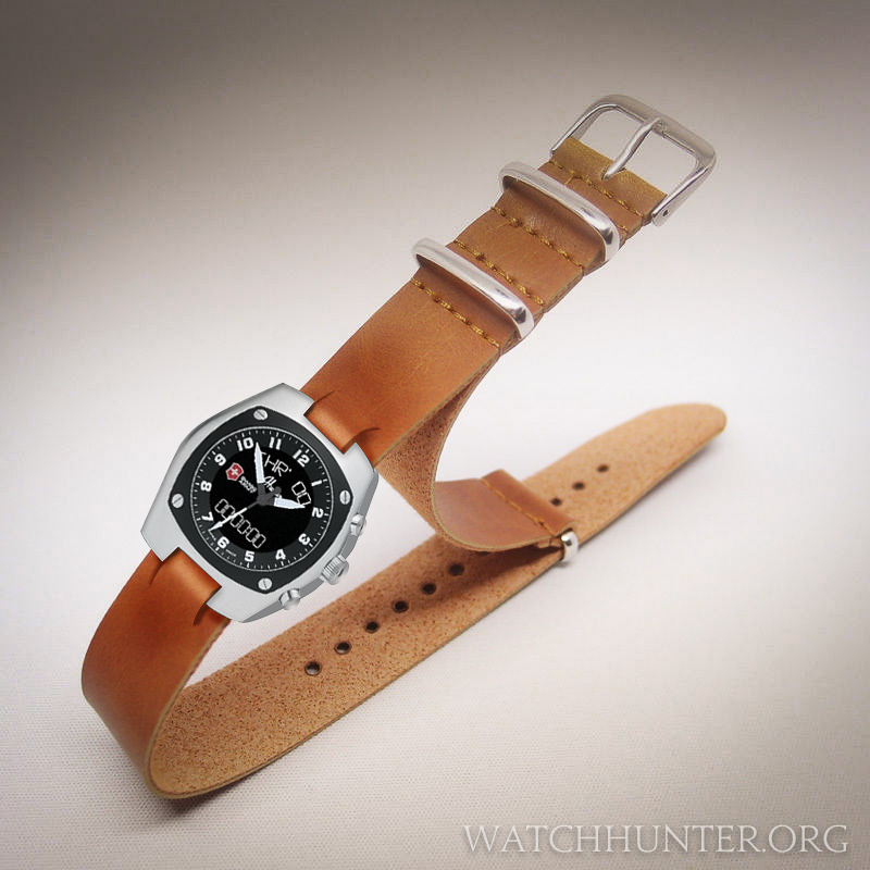 A leather NATO watchband could be slit and the Hunter watch installed onto it.