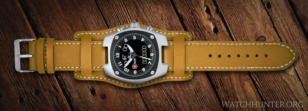 A concept of a Swiss Army Mach 3 digital/analog watch on a thick leather bund strap.