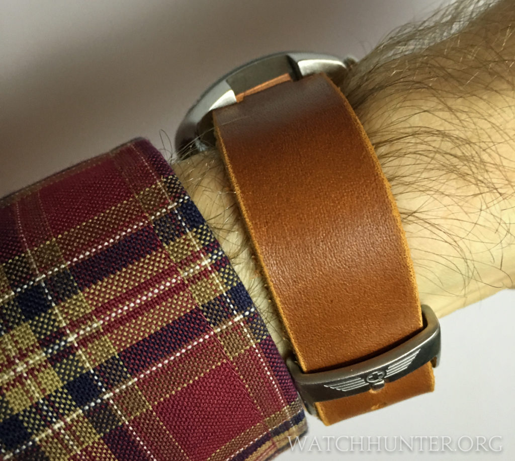 The side view of a modified Horween leather strap on a Victorinox Swiss Army Hunter chronograph