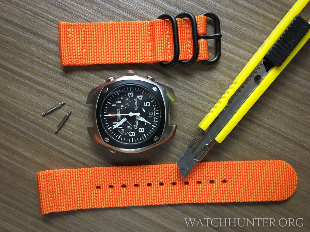 Victorinox Swiss Army Hunter Mach 2 with a cheap Infantry brand strap. These are great for just a few bucks.
