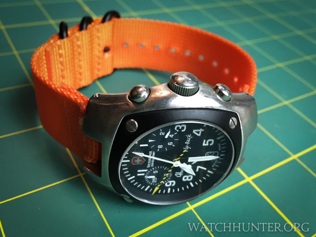 Holy pumpkins Batman! This Victorinox Swiss Army Hunter watch with an orange strap sure is groovy!