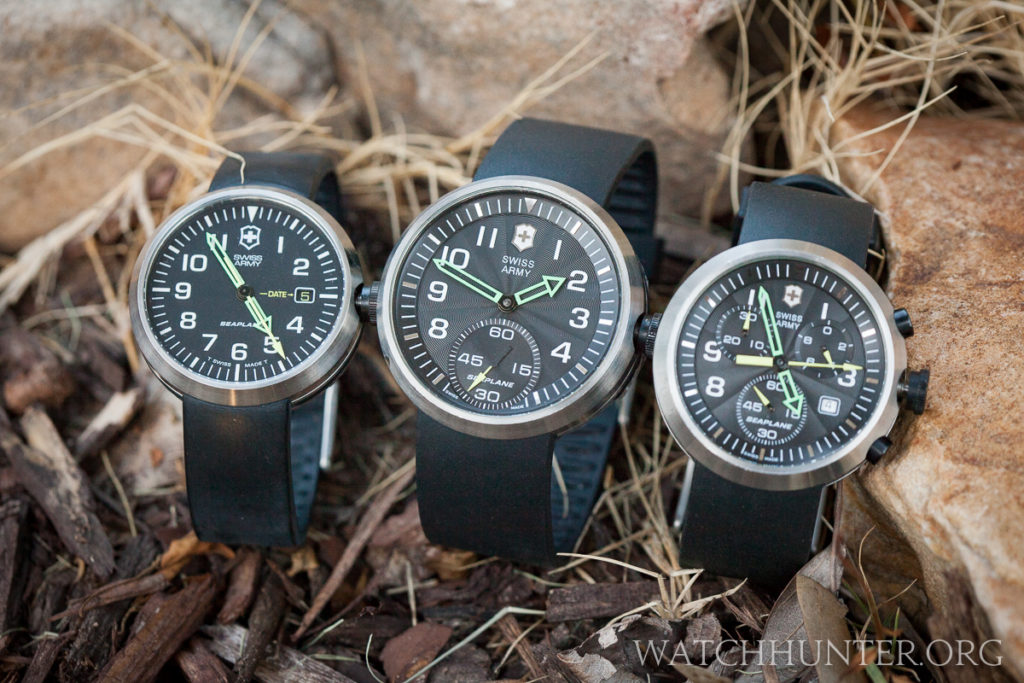 The SeaPlane XL Mechanical watch (center) was the largest model in the Victorinox Swiss Army SeaPlane family