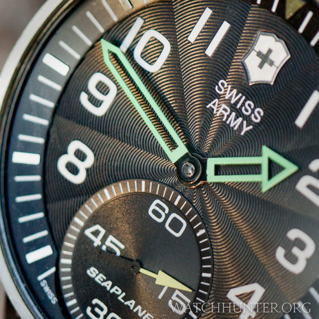 The guilloche dial of the Victorinox Swiss Army SeaPlane XL Mechanical is magical.